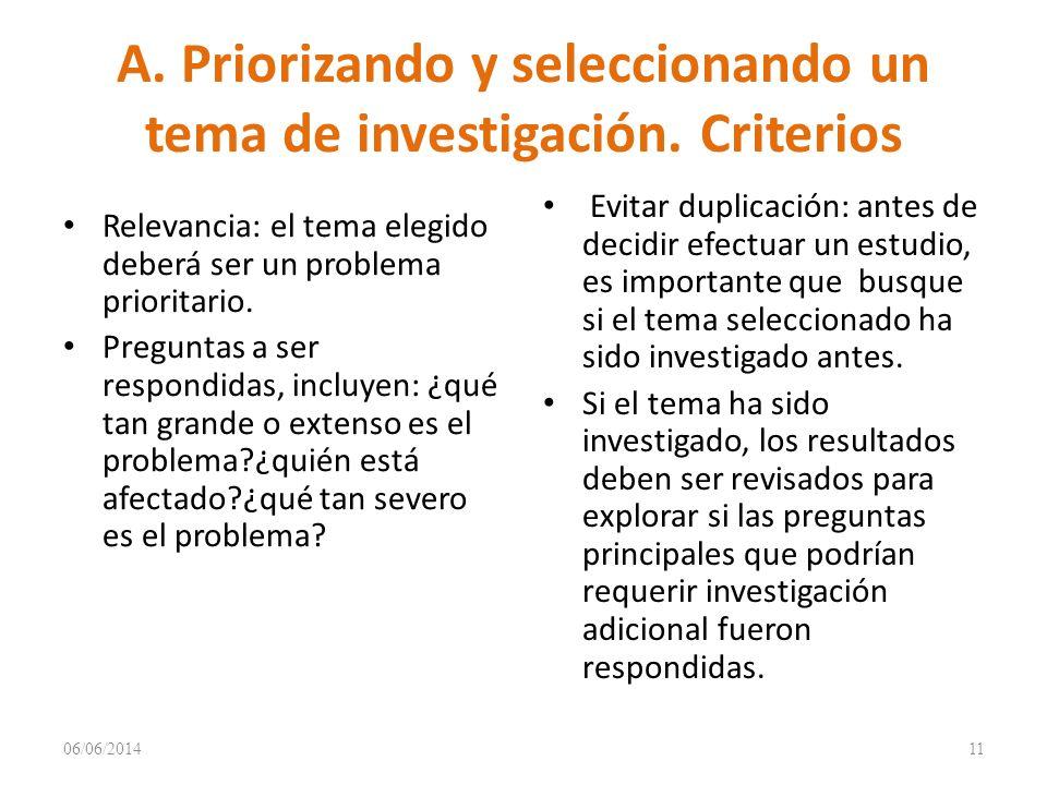 A.Priorizando y seleccionando un tema de investigación.