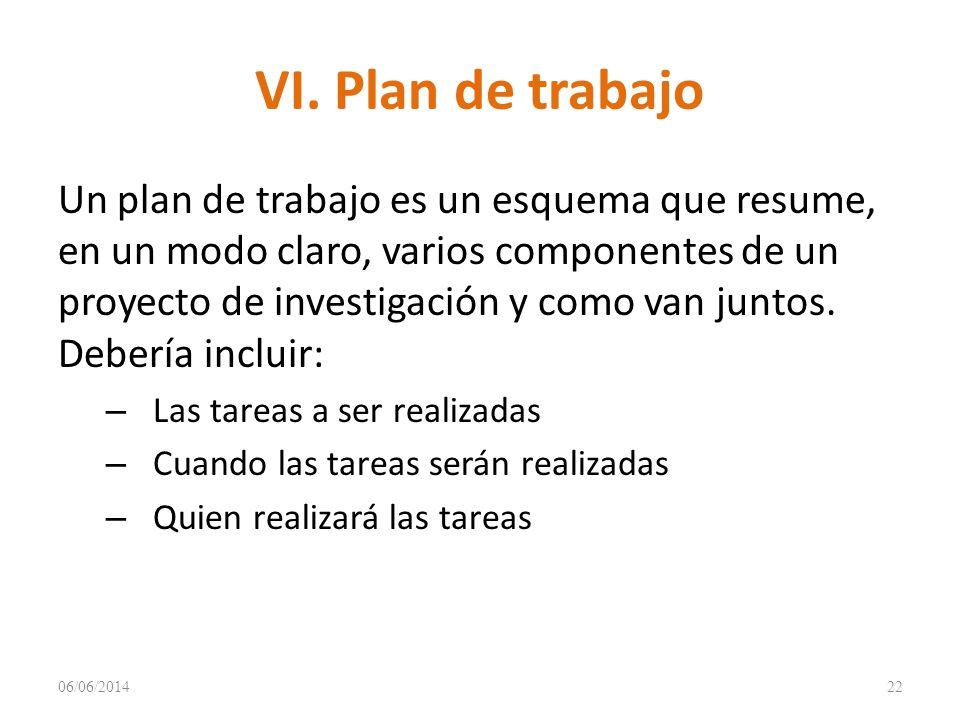 VI. Plan de trabajo Un plan de trabajo es un esquema que resume, en un modo claro, varios componentes de un proyecto de investigación y como van junto