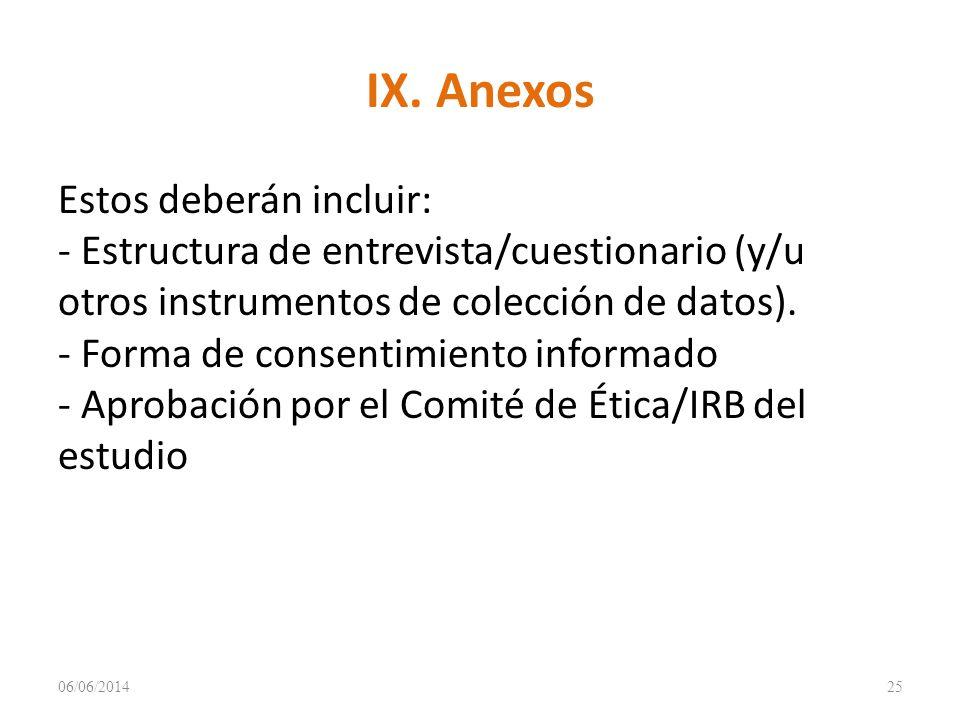 IX. Anexos Estos deberán incluir: - Estructura de entrevista/cuestionario (y/u otros instrumentos de colección de datos). - Forma de consentimiento in