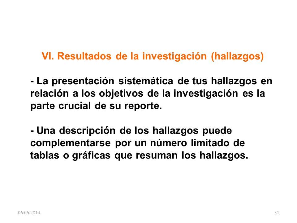 VI. Resultados de la investigación (hallazgos) - La presentación sistemática de tus hallazgos en relación a los objetivos de la investigación es la pa