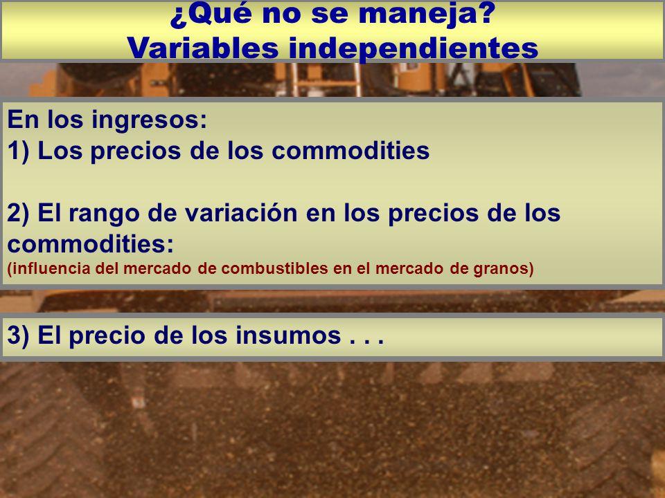 En los ingresos: 1) Los precios de los commodities 2) El rango de variación en los precios de los commodities: (influencia del mercado de combustibles