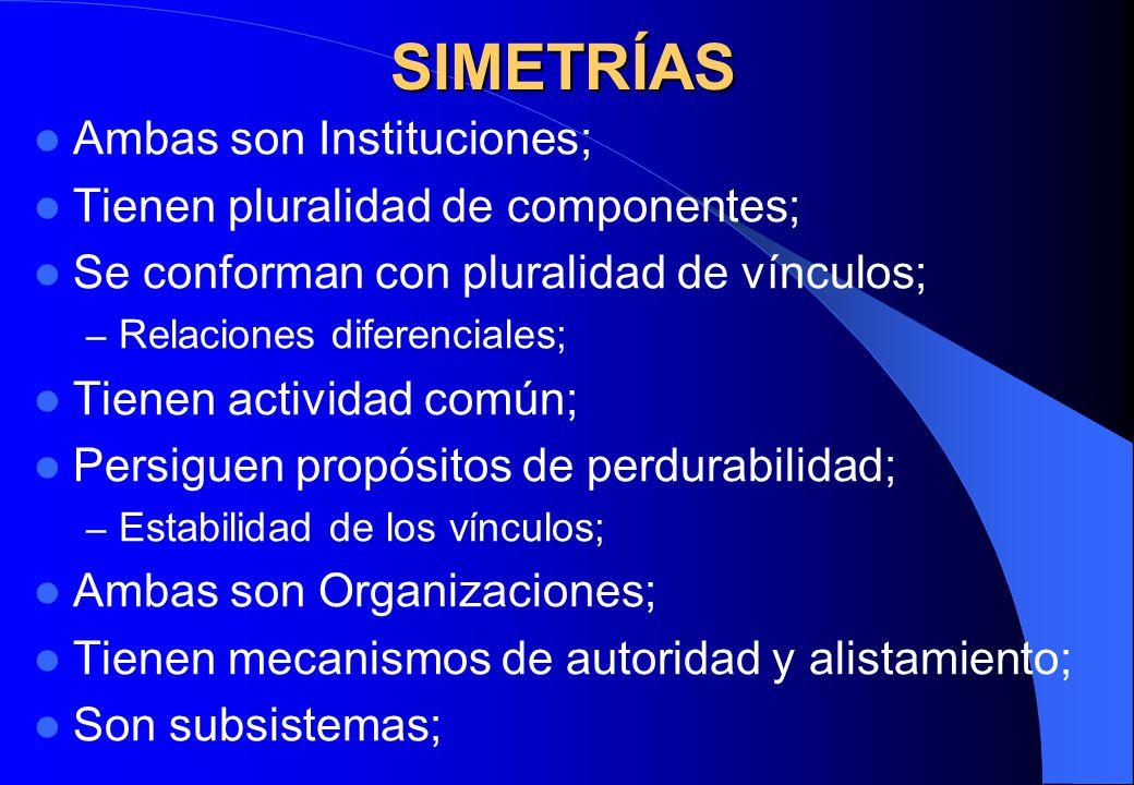 SIMETRÍAS Ambas son Instituciones; Tienen pluralidad de componentes; Se conforman con pluralidad de vínculos; – Relaciones diferenciales; Tienen activ