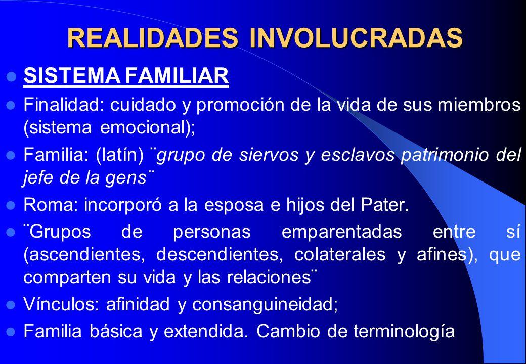 REALIDADES INVOLUCRADAS SISTEMA FAMILIAR Finalidad: cuidado y promoción de la vida de sus miembros (sistema emocional); Familia: (latín) ¨grupo de sie