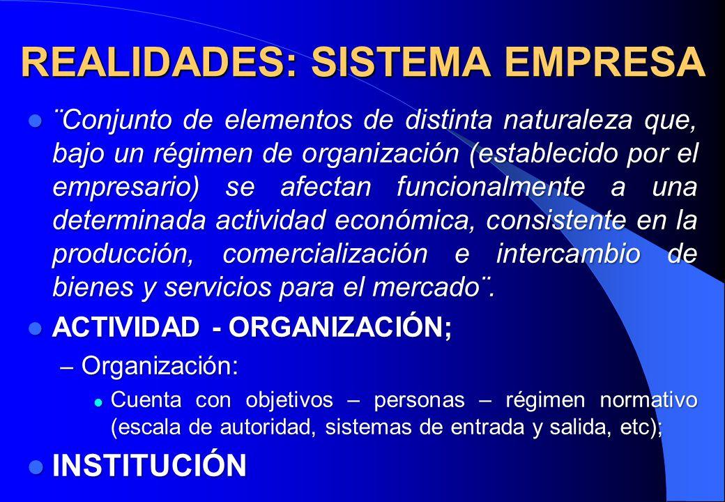 REALIDADES: SISTEMA EMPRESA ¨Conjunto de elementos de distinta naturaleza que, bajo un régimen de organización (establecido por el empresario) se afec