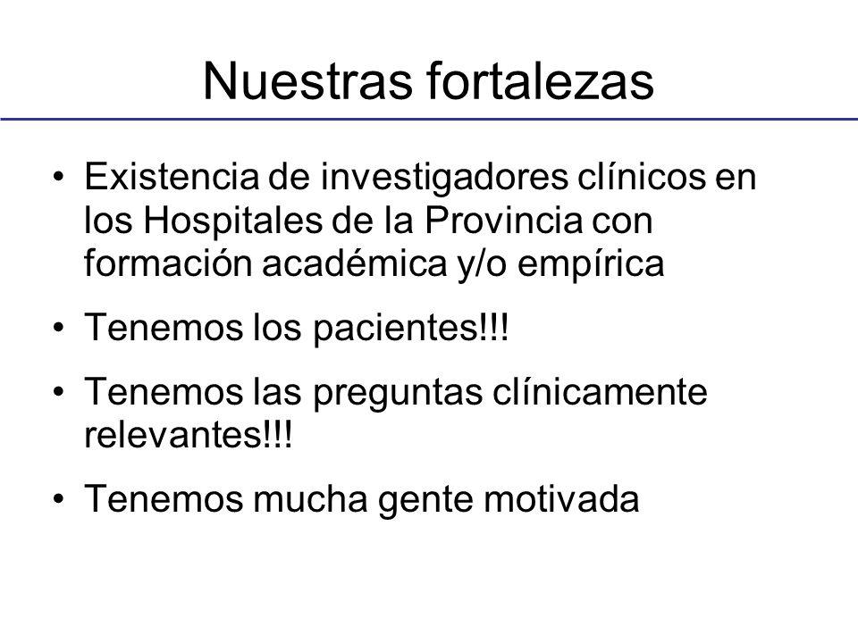 Nuestras fortalezas Existencia de investigadores clínicos en los Hospitales de la Provincia con formación académica y/o empírica Tenemos los pacientes!!.