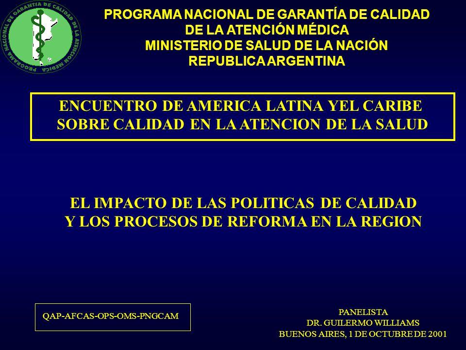 PROGRAMA NACIONAL DE GARANTÍA DE CALIDAD DE LA ATENCIÓN MÉDICA MINISTERIO DE SALUD DE LA NACIÓN REPUBLICA ARGENTINA PRINCIPIOS QUE GUIAN LA REFORMA DEL SECTOR SALUD Efectividad y Calidad Equidad Participación Categorías EficienciaSostenibilidad