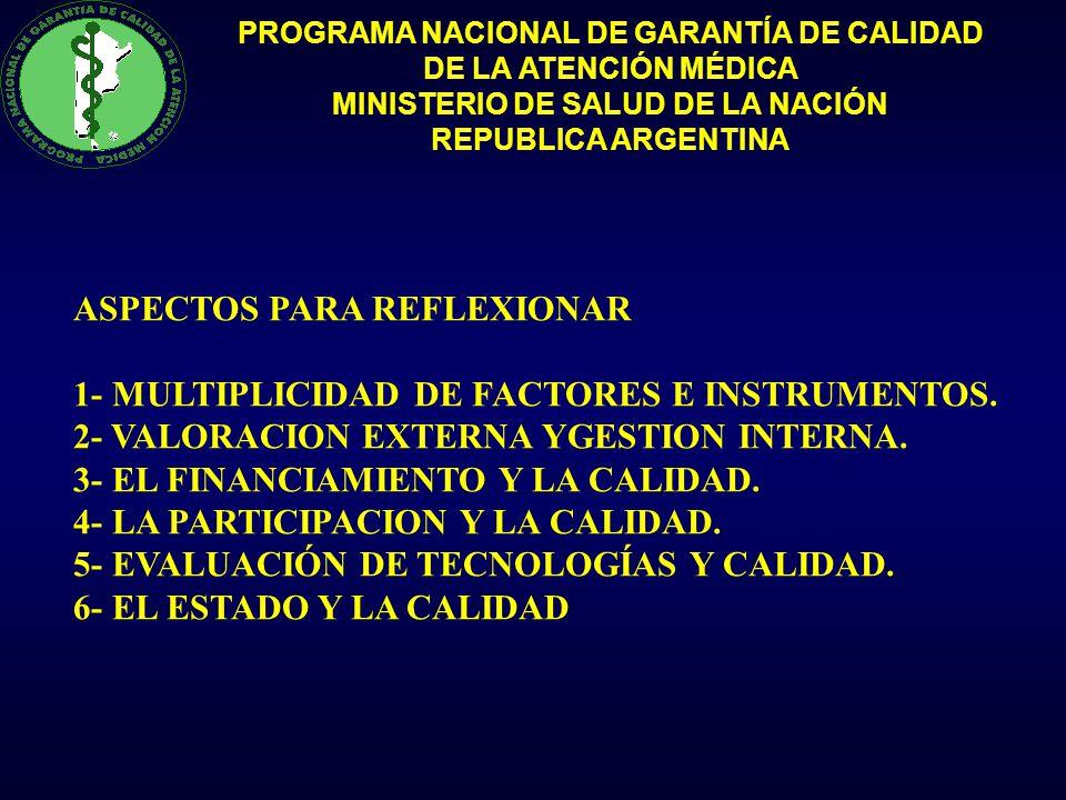 PROGRAMA NACIONAL DE GARANTÍA DE CALIDAD DE LA ATENCIÓN MÉDICA MINISTERIO DE SALUD DE LA NACIÓN REPUBLICA ARGENTINA ASPECTOS PARA REFLEXIONAR 1- MULTI