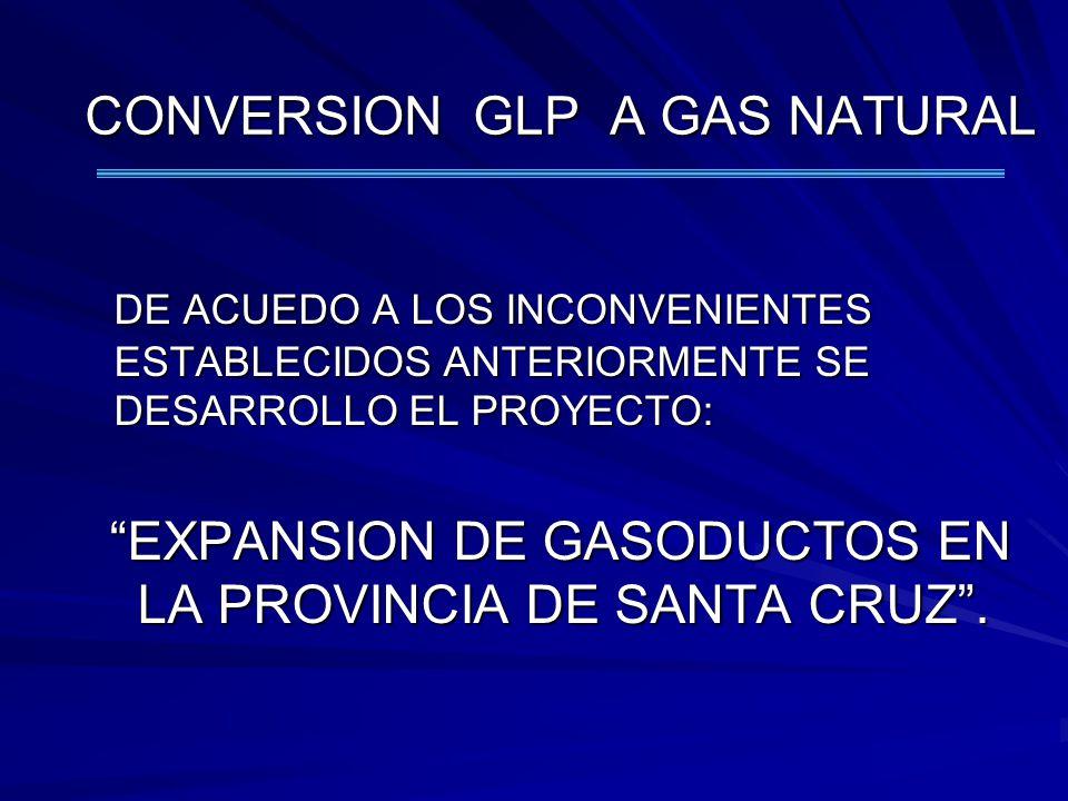 DE ACUEDO A LOS INCONVENIENTES ESTABLECIDOS ANTERIORMENTE SE DESARROLLO EL PROYECTO: EXPANSION DE GASODUCTOS EN LA PROVINCIA DE SANTA CRUZ. EXPANSION