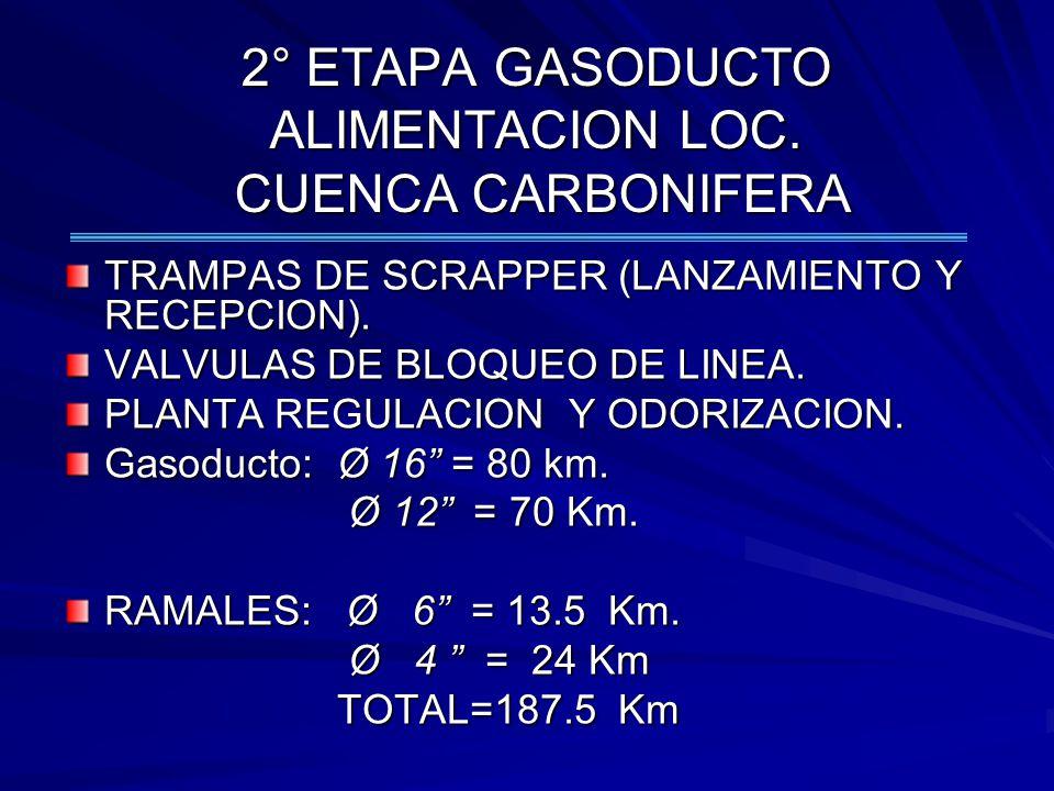 2° ETAPA GASODUCTO ALIMENTACION LOC. CUENCA CARBONIFERA TRAMPAS DE SCRAPPER (LANZAMIENTO Y RECEPCION). VALVULAS DE BLOQUEO DE LINEA. PLANTA REGULACION