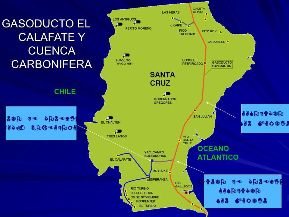 GASODUCTO EL CALAFATE Y CUENCA CARBONIFERA GASODUCTO SAN MARTIN PUNTO DE CONEXIÓN YAC. BOLEADORAS PUNTO DE CONEXIÓN GASODUCTO SAN MARTIN CHILE OCEANO