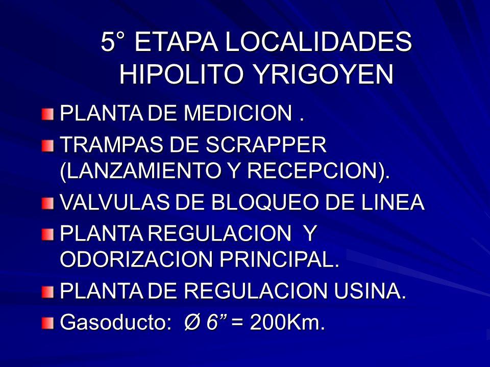5° ETAPA LOCALIDADES HIPOLITO YRIGOYEN PLANTA DE MEDICION. TRAMPAS DE SCRAPPER (LANZAMIENTO Y RECEPCION). VALVULAS DE BLOQUEO DE LINEA PLANTA REGULACI