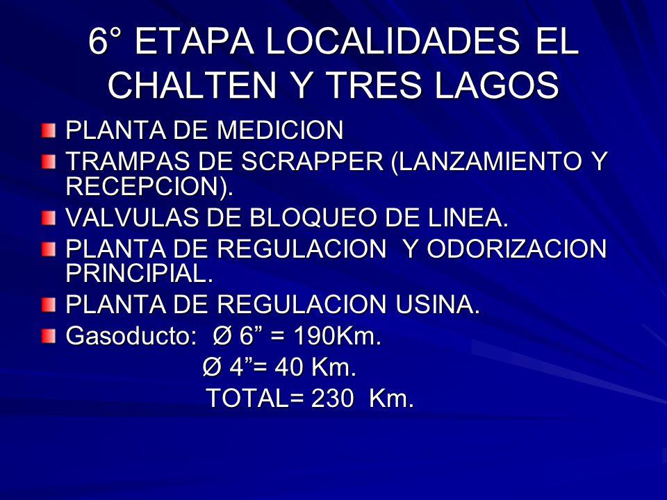 6° ETAPA LOCALIDADES EL CHALTEN Y TRES LAGOS PLANTA DE MEDICION TRAMPAS DE SCRAPPER (LANZAMIENTO Y RECEPCION). VALVULAS DE BLOQUEO DE LINEA. PLANTA DE