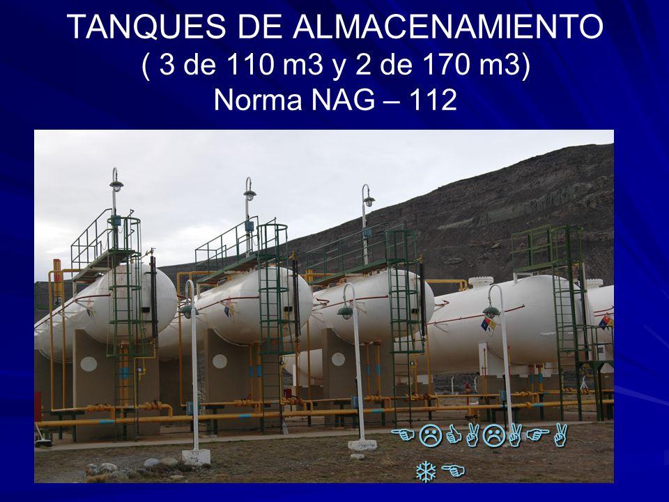 TANQUES DE ALMACENAMIENTO ( 3 de 110 m3 y 2 de 170 m3) Norma NAG – 112 ELCALAFA TE