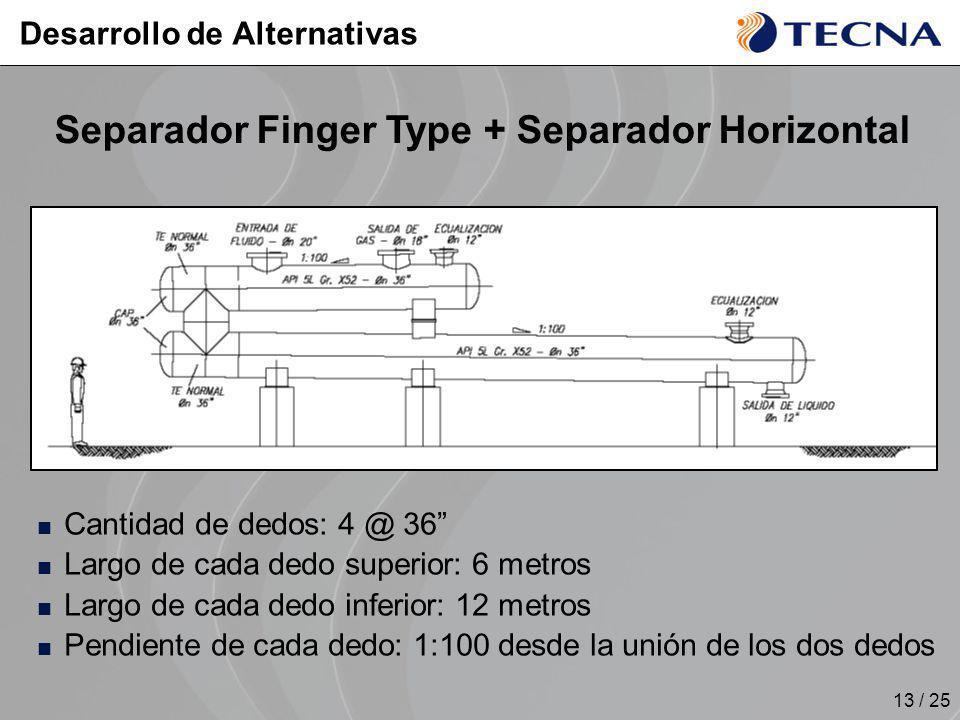 13 / 25 Separador Finger Type + Separador Horizontal Cantidad de dedos: 4 @ 36 Largo de cada dedo superior: 6 metros Largo de cada dedo inferior: 12 m