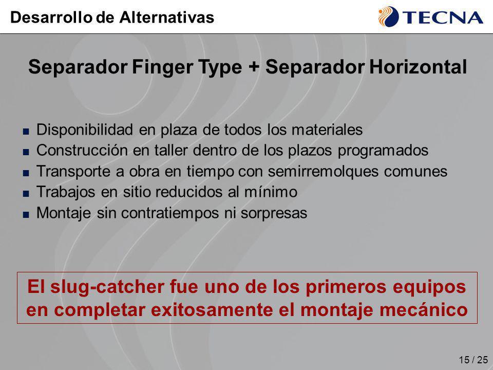15 / 25 Disponibilidad en plaza de todos los materiales Construcción en taller dentro de los plazos programados Transporte a obra en tiempo con semirr