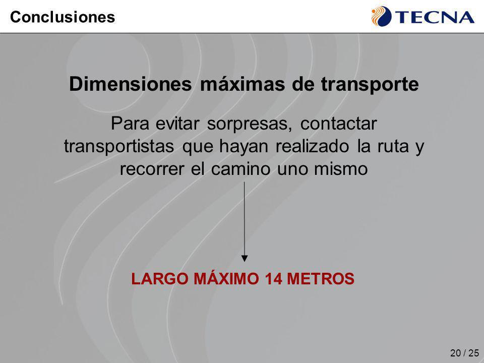 20 / 25 LARGO MÁXIMO 14 METROS Dimensiones máximas de transporte Para evitar sorpresas, contactar transportistas que hayan realizado la ruta y recorre