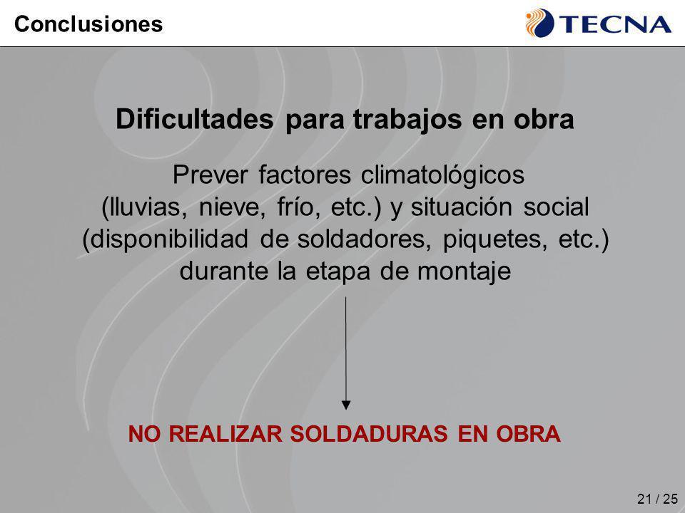 21 / 25 Dificultades para trabajos en obra Prever factores climatológicos (lluvias, nieve, frío, etc.) y situación social (disponibilidad de soldadore