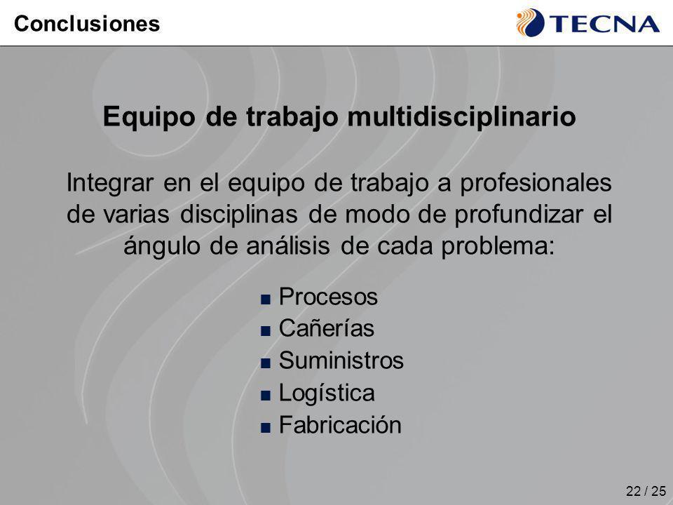 22 / 25 Equipo de trabajo multidisciplinario Integrar en el equipo de trabajo a profesionales de varias disciplinas de modo de profundizar el ángulo d