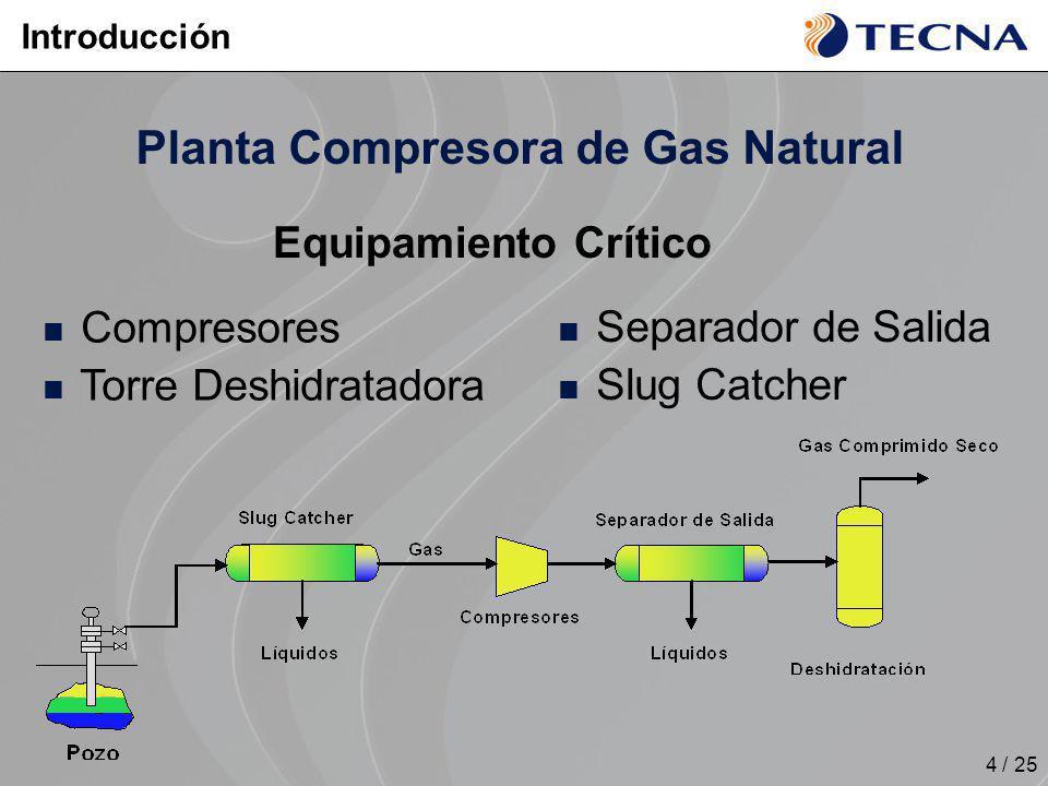 4 / 25 Planta Compresora de Gas Natural Equipamiento Crítico Introducción Compresores Torre Deshidratadora Separador de Salida Slug Catcher