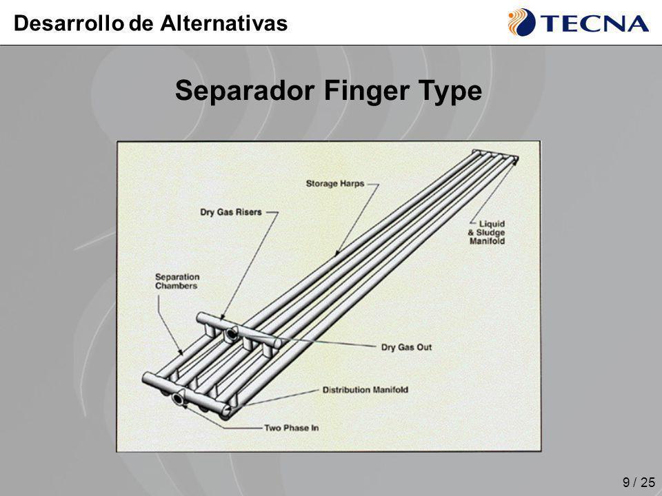 9 / 25 Separador Finger Type Desarrollo de Alternativas