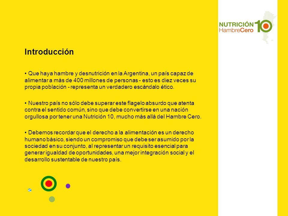 Introducción Que haya hambre y desnutrición en la Argentina, un país capaz de alimentar a más de 400 millones de personas - esto es diez veces su propia población - representa un verdadero escándalo ético.