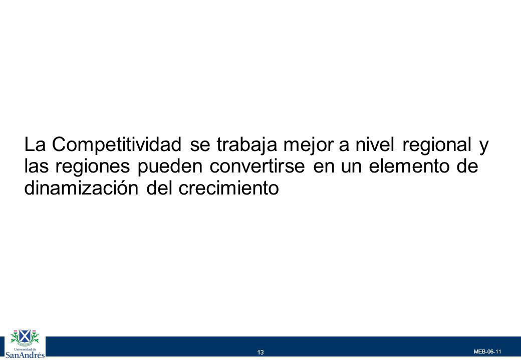 MEB-06-11 13 La Competitividad se trabaja mejor a nivel regional y las regiones pueden convertirse en un elemento de dinamización del crecimiento