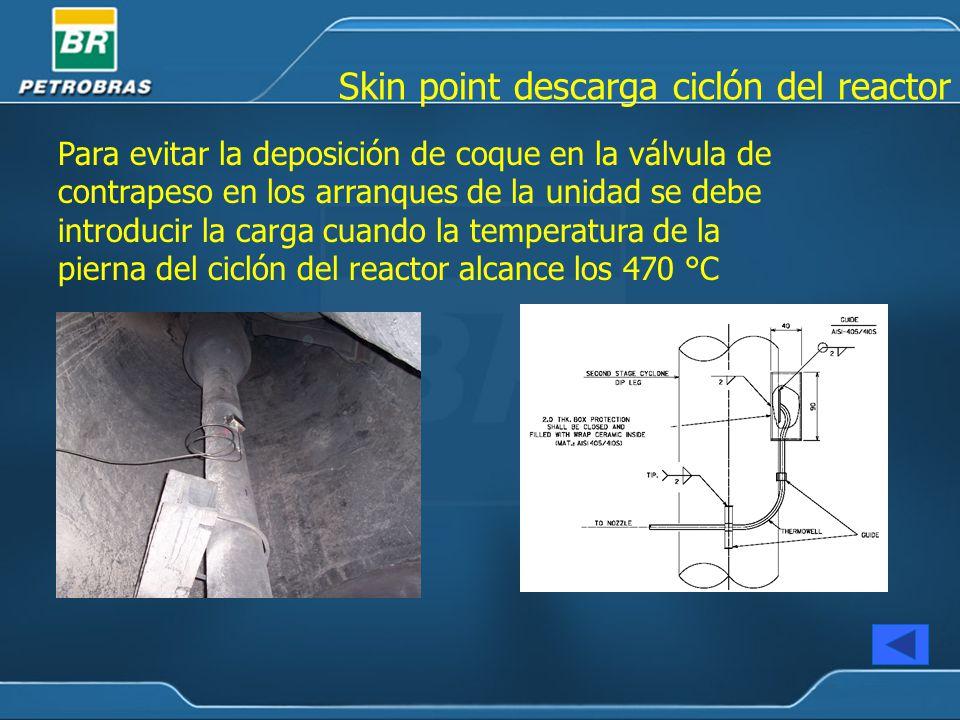 Para evitar la deposición de coque en la válvula de contrapeso en los arranques de la unidad se debe introducir la carga cuando la temperatura de la pierna del ciclón del reactor alcance los 470 °C Skin point descarga ciclón del reactor