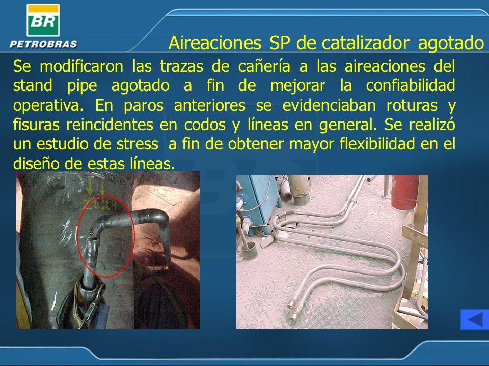 Se modificaron las trazas de cañería a las aireaciones del stand pipe agotado a fin de mejorar la confiabilidad operativa.
