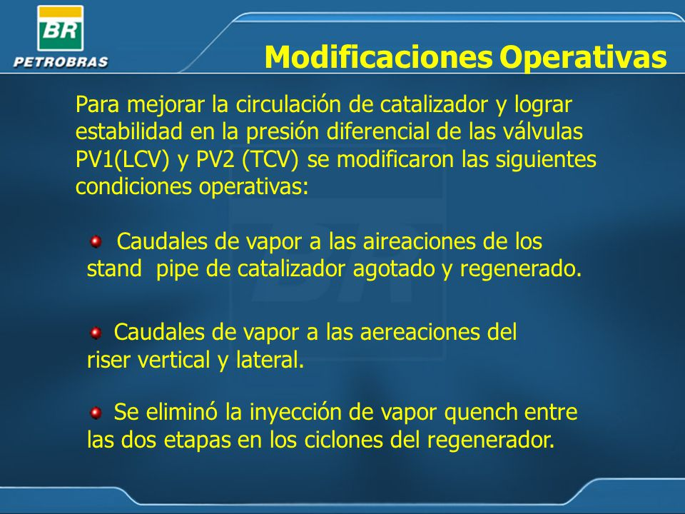 Modificaciones Operativas Caudales de vapor a las aireaciones de los stand pipe de catalizador agotado y regenerado.