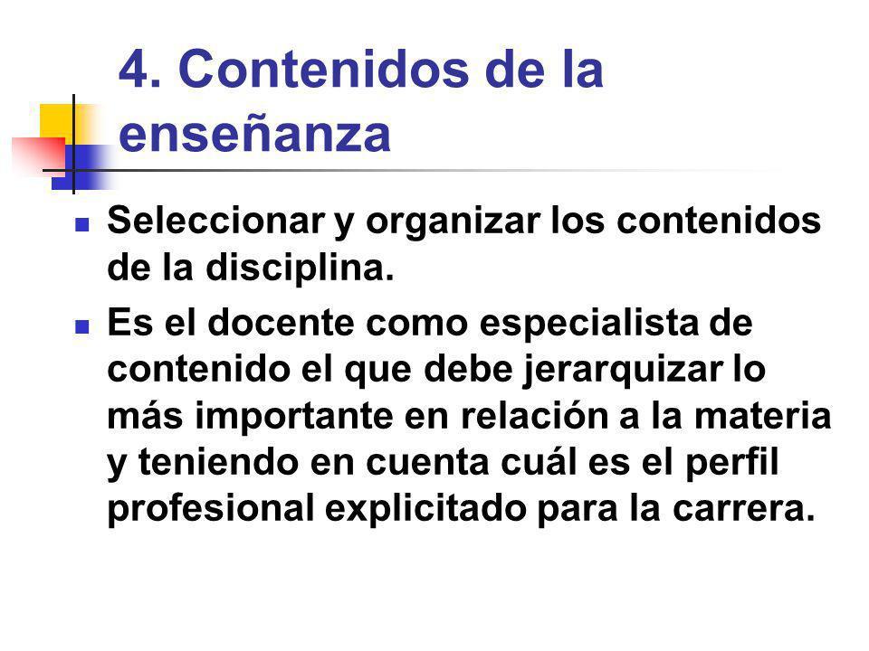 4.Contenidos de la enseñanza Seleccionar y organizar los contenidos de la disciplina.