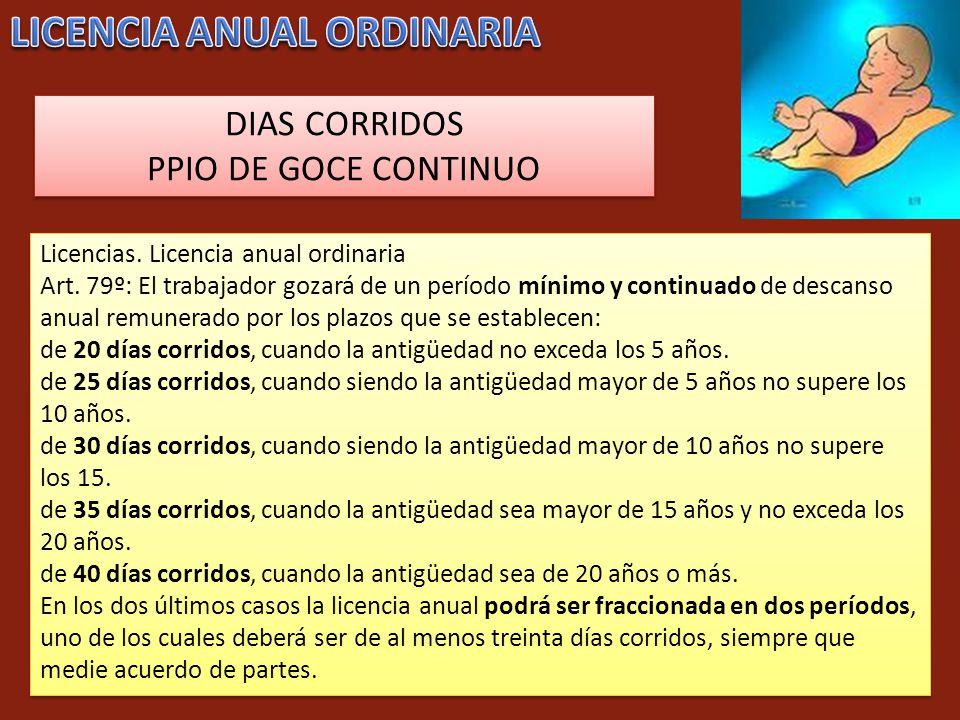 Licencias. Licencia anual ordinaria Art. 79º: El trabajador gozará de un período mínimo y continuado de descanso anual remunerado por los plazos que s