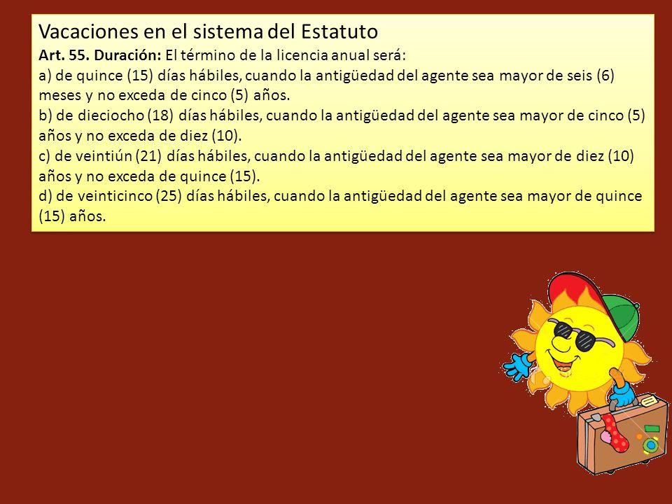 Vacaciones en el sistema del Estatuto Art. 55. Duración: El término de la licencia anual será: a) de quince (15) días hábiles, cuando la antigüedad de