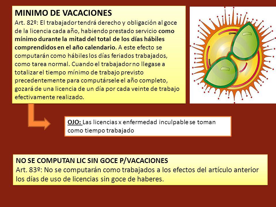 MINIMO DE VACACIONES Art. 82º: El trabajador tendrá derecho y obligación al goce de la licencia cada año, habiendo prestado servicio como mínimo duran