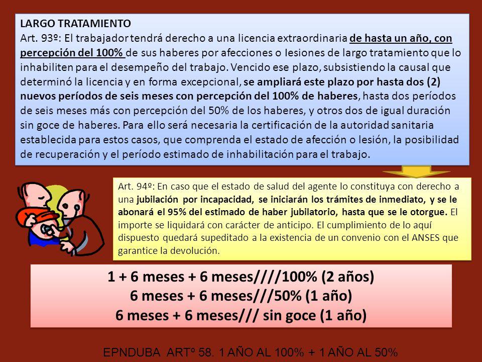 LARGO TRATAMIENTO Art. 93º: El trabajador tendrá derecho a una licencia extraordinaria de hasta un año, con percepción del 100% de sus haberes por afe