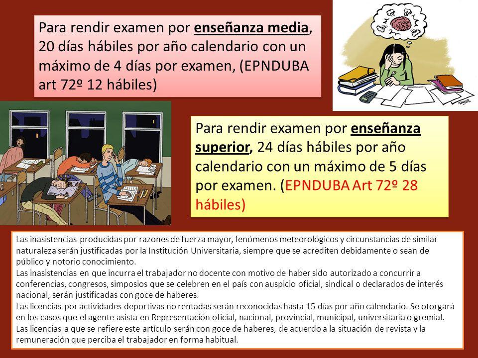 Para rendir examen por enseñanza media, 20 días hábiles por año calendario con un máximo de 4 días por examen, (EPNDUBA art 72º 12 hábiles) Para rendi