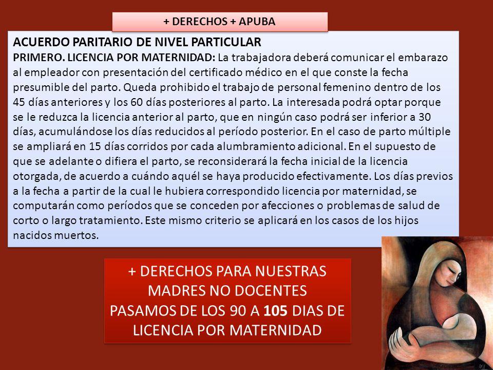 ACUERDO PARITARIO DE NIVEL PARTICULAR PRIMERO. LICENCIA POR MATERNIDAD: La trabajadora deberá comunicar el embarazo al empleador con presentación del