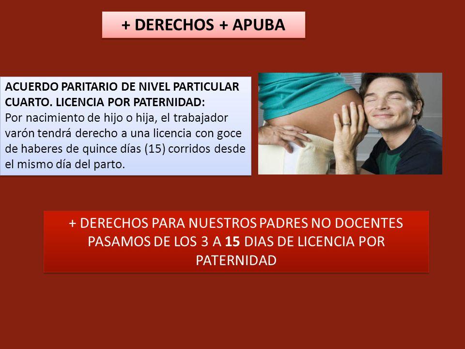 ACUERDO PARITARIO DE NIVEL PARTICULAR CUARTO. LICENCIA POR PATERNIDAD: Por nacimiento de hijo o hija, el trabajador varón tendrá derecho a una licenci