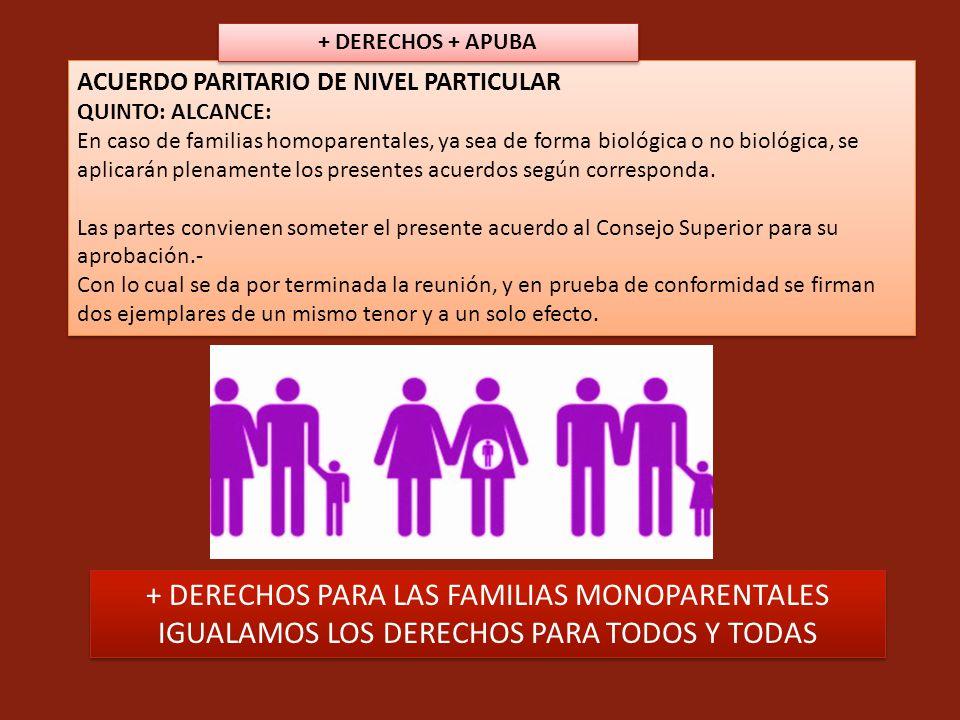 ACUERDO PARITARIO DE NIVEL PARTICULAR QUINTO: ALCANCE: En caso de familias homoparentales, ya sea de forma biológica o no biológica, se aplicarán plen