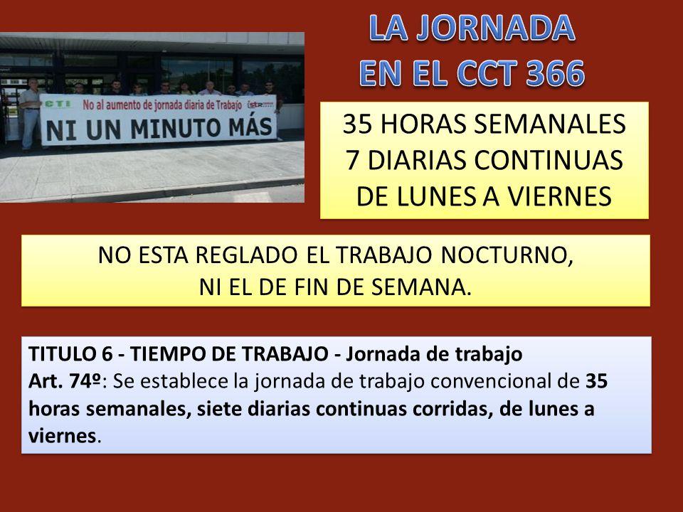 TITULO 6 - TIEMPO DE TRABAJO - Jornada de trabajo Art. 74º: Se establece la jornada de trabajo convencional de 35 horas semanales, siete diarias conti