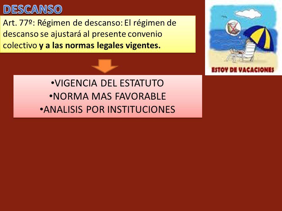 Art. 77º: Régimen de descanso: El régimen de descanso se ajustará al presente convenio colectivo y a las normas legales vigentes. VIGENCIA DEL ESTATUT