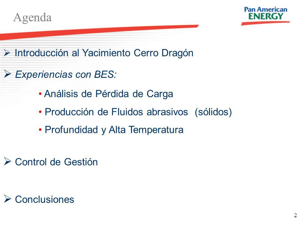 2 Agenda 68 km Introducción al Yacimiento Cerro Dragón Experiencias con BES: Análisis de Pérdida de Carga Producción de Fluidos abrasivos (sólidos) Pr
