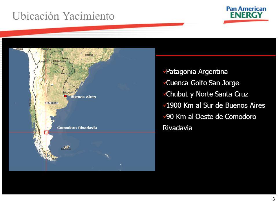 3 Ubicación Yacimiento Patagonia Argentina Cuenca Golfo San Jorge Chubut y Norte Santa Cruz 1900 Km al Sur de Buenos Aires 90 Km al Oeste de Comodoro