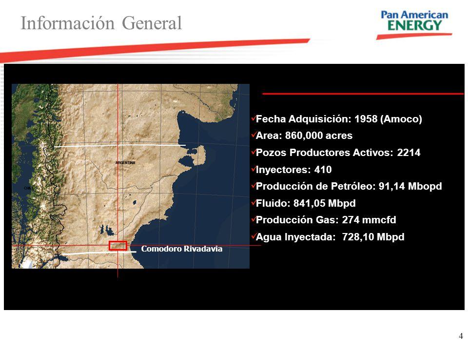4 Información General Fecha Adquisición: 1958 (Amoco) Area: 860,000 acres Pozos Productores Activos: 2214 Inyectores: 410 Producción de Petróleo: 91,1