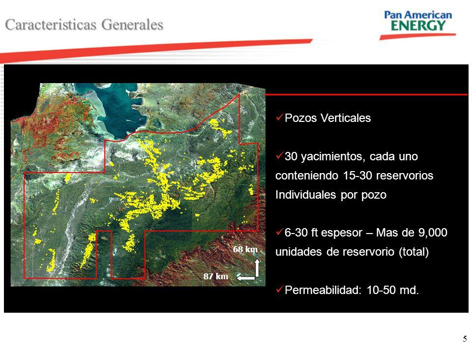 5 Caracteristicas Generales 68 km 87 km Pozos Verticales 30 yacimientos, cada uno conteniendo 15-30 reservorios Individuales por pozo 6-30 ft espesor