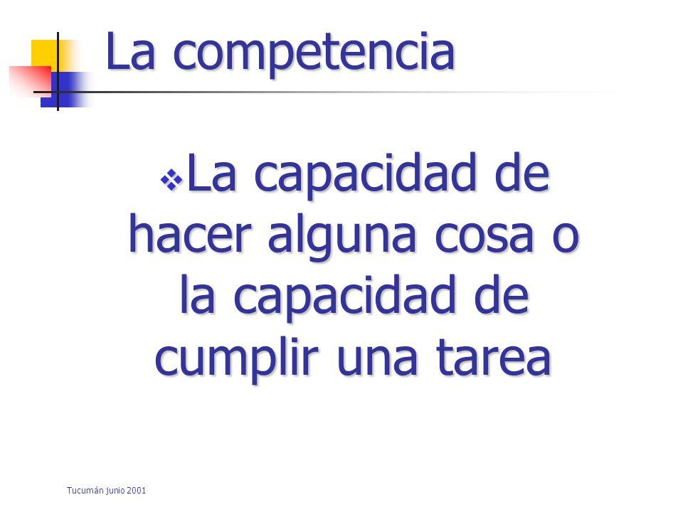Tucumán junio 2001 La competencia Su evaluación: –Consecuencias –Imparcialidad –Complejidad cognitiva –Calidad del contenido –Generalisabilidad