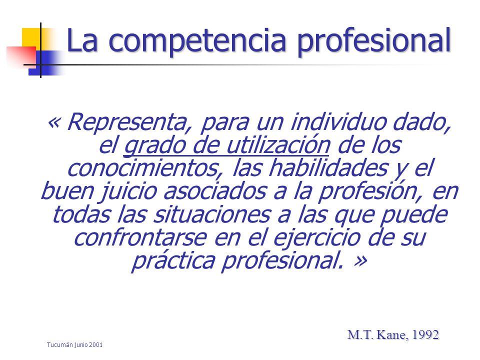 Tucumán junio 2001 La capacidad (y su nivel) del profesional A utilizar - los conocimientos - las habilidades - las actitudes - la capacidad de juicio para solucionar problemas (complejos) que se presentan en el campo de su actividad profesional La competencia profesional asociados a la profesión }