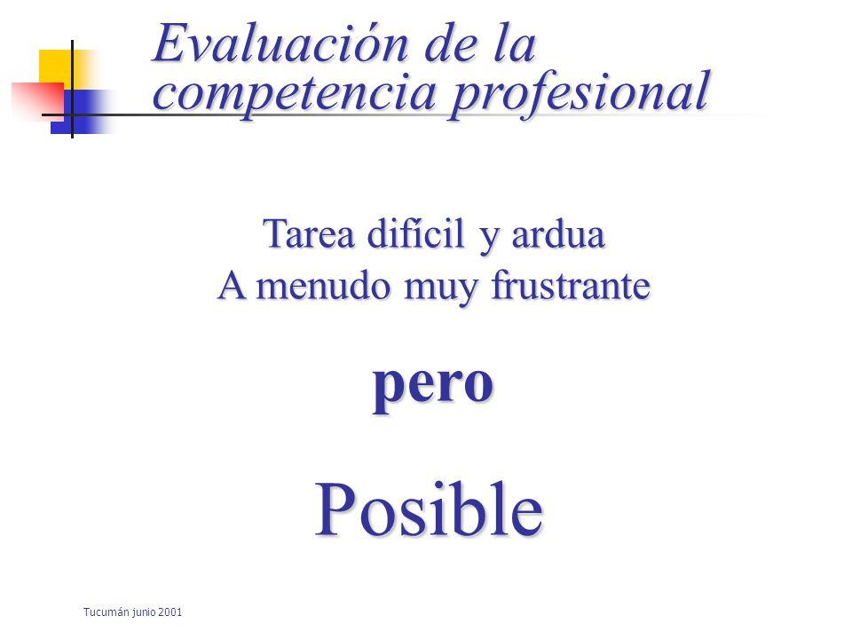 Tucumán junio 2001 Evaluación de la competencia profesional Indispensable Elaboración de instrumentos Confirmar que los profesionales son capaces de hacer lo que se espera de ellos