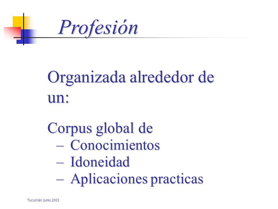 Tucumán junio 2001 Profesión Responde a Ciertas reglas ImponeFormaciónPreparaciónParticulares