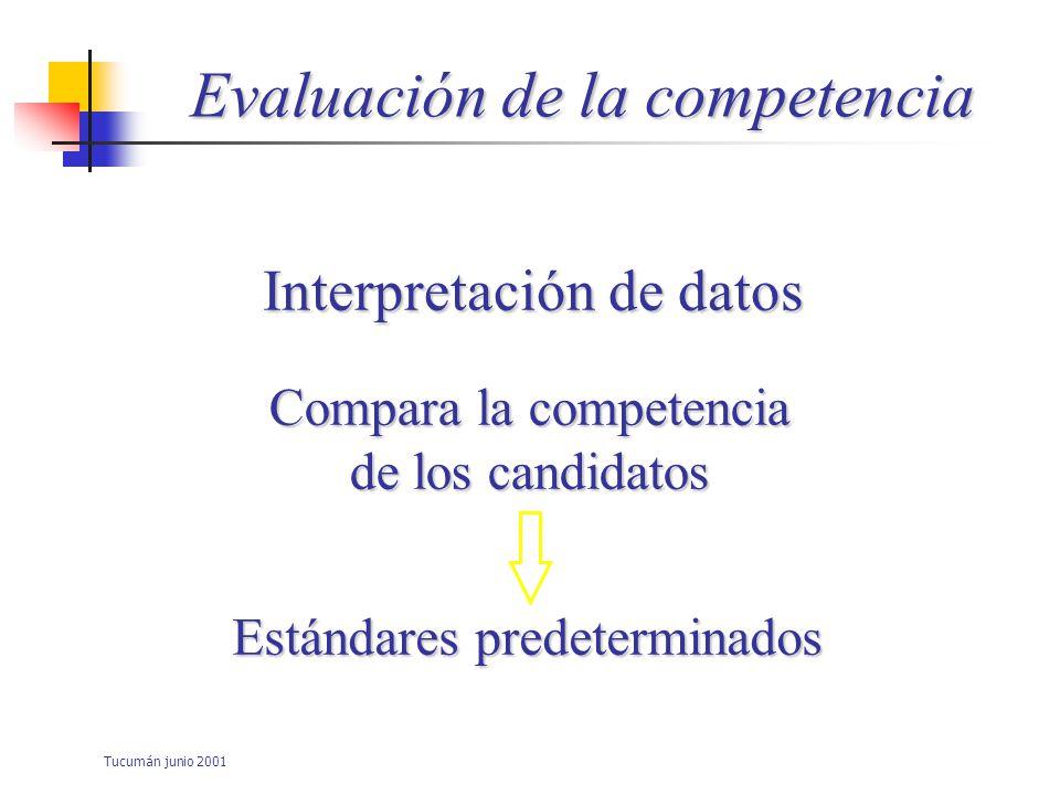 Tucumán junio 2001 Evaluación de la competencia Imposición de criterios necesarios Ejercicio de la práctica profesional