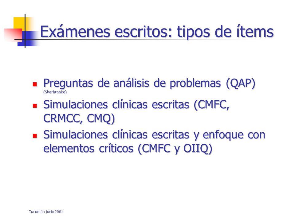 Tucumán junio 2001 Exámenes escritos: tipos de ítems Preguntas de análisis de problemas (QAP) (Sherbrooke) Preguntas de análisis de problemas (QAP) (Sherbrooke) Simulaciones clínicas escritas (CMFC, CRMCC, CMQ) Simulaciones clínicas escritas (CMFC, CRMCC, CMQ) Simulaciones clínicas escritas y enfoque con elementos críticos (CMFC y OIIQ) Simulaciones clínicas escritas y enfoque con elementos críticos (CMFC y OIIQ)